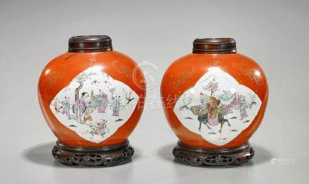 Pair Antique Chinese Enameled Porcelain Jars