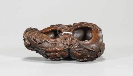 Chinese Carved Hardwood Gourd-Form Brushwasher