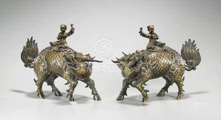 Pair Chinese Gilt Bronze Qilin & Boys