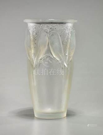 Lalique 'Perruches' Vase