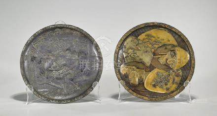 Two Antique Japanese Pewter Dishes