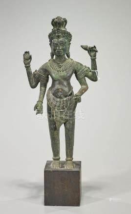 Antique Cambodian Bronze Figure of a Deity