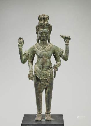 Khmer-Style Bronze Standing Deity