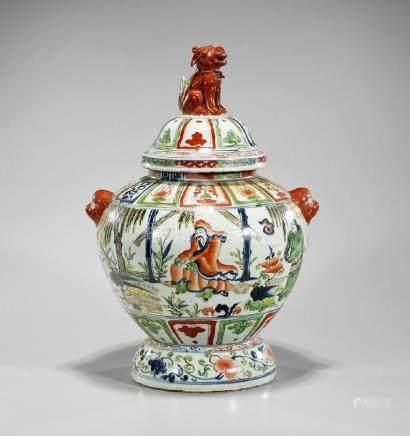 Chinese Wucai Enameled Porcelain Jar