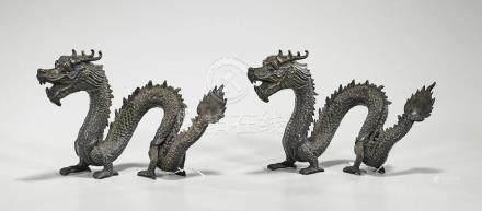 Pair Chinese Bronze Dragons