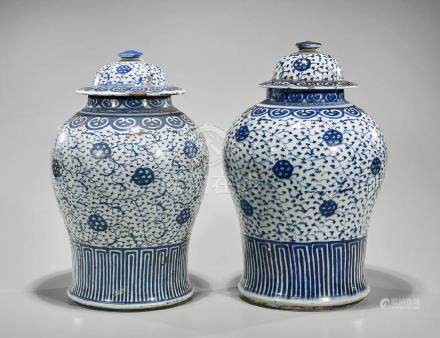 Pair Antique Chinese Blue & White Porcelain Jars