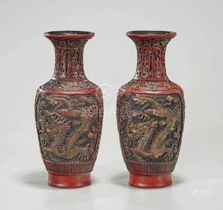 Pair Chinese Cinnabar-Like Vases