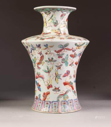 A CHINESE REPUBLIC PERIOD PORCELAIN VASE of archaistic waisted form with short waisted cylindrical