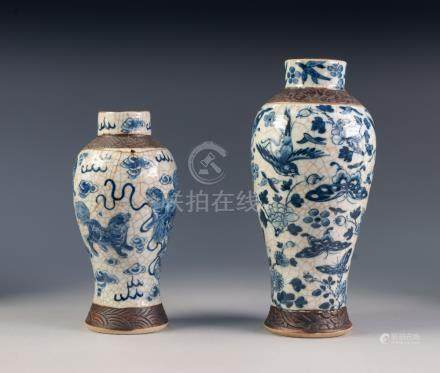 CHINESE CRACKLE WARE SLENDER OVULAR BLUE AND WHITE VASE, painted autour with butterflies, birds