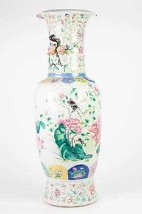 LATE NINETEENTH/ EARLY TWENTIETH CENTURY CHINESE ENAMELLED PORCELAIN LARGE VASE, of slender