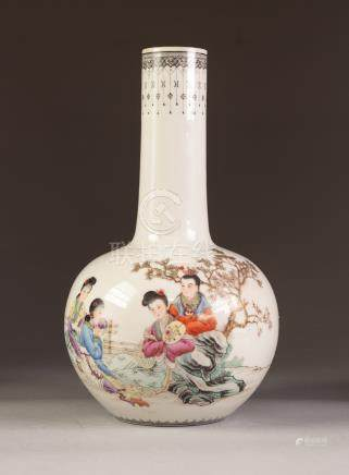 A POST WAR CHINESE PORCELAIN BOTTLE SHAPE VASE, well painted in enamels with four Mei-jen sat before