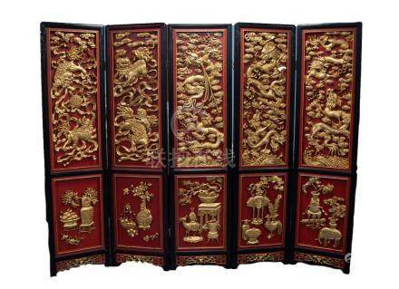 IMPRESSIVE MODERN CHINESE CARVED GILT WOOD AND RED LACQUERED FIVE FOLD SCREEN AND MATCHING THREE
