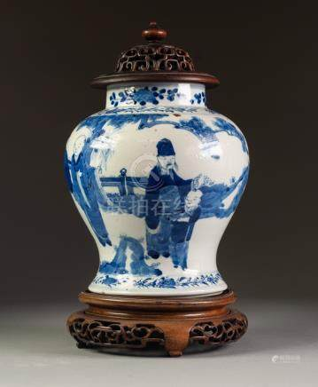 NINETEENTH CENTURY CHINESE BLUE AND WHITE PORCELAIN GINGER JAR AND COVER, of waisted form, painted
