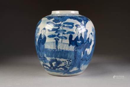 NINETEENTH CENTURY CHINESE BLUE AND WHITE PORCELAIN GINGER JAR, of typical form, painted with