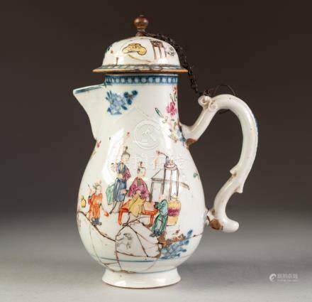 CHINESE KANGXI PERIOD FAMILLE ROSE ENAMELLED PORCELAIN JUG AND COVER, of footed baluster form with