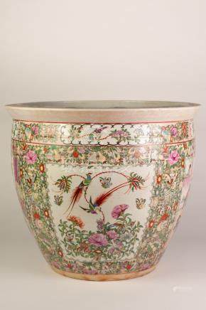 PAIR OF TWENTIETH CENTURY CHINESE FAMILLE ROSE PORCELAIN LARGE FISH BOWLS, each of typical form, the