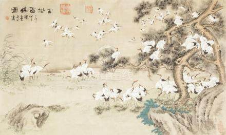 AN EARLY TWENTIETH CENTURY CHINESE WATERCOLOUR ON SILK PICTURES, of approx 100 cranes wading and