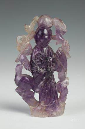 CHINESE AMETHYST FIGURE OF GUANYIN, - 3 1/2 in. high.