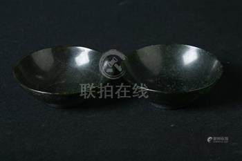 TWO CHINESE SPINACH JADE BOWLS. - Dia: 2 3/4 in.