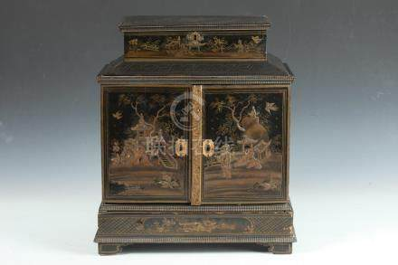 CHINESE BLACK LACQUER AND GILT DECORATED JEWELRY CHEST. 19th
