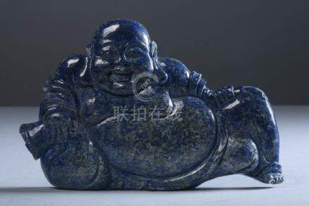 CHINESE LAPIS LAZULI FIGURE OF LOHAN. - 7 in. wide.