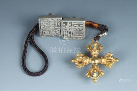 TWO CHINESE SILVER SEALS. - Largest: 1 3/4 in. long.