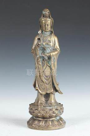 CHINESE BRONZE FIGURE OF GUANYIN. - 12 in. high.