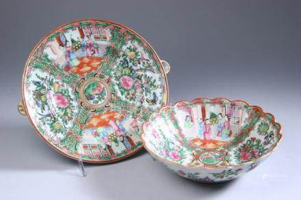 CHINESE ROSE MEDALLION PORCELAIN HOT WATER PLATE, 19th centu