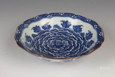 CHINESE BLUE AND WHITE PORCELAIN DISH, Jiajing six character