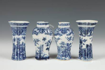 FOUR-PIECE CHINESE EXPORT PORCELAIN BLUE AND WHITE DECORATED