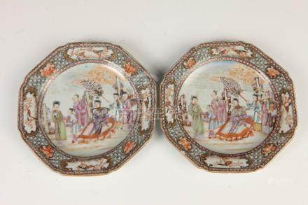 PAIR CHINESE FAMILLE ROSE PORCELAIN DISHES, 19th century. -