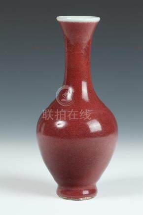 CHINESE COPPER RED PORCELAIN VASE. - 7 1/2 in. high.