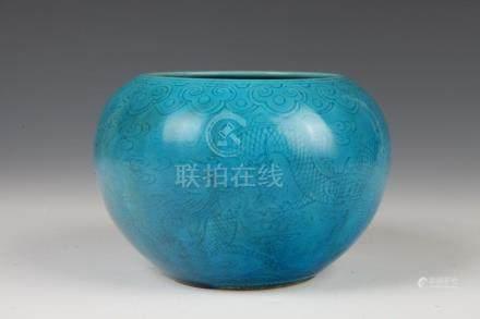 CHINESE TURQUOISE GLAZE BRUSH WASHER, Kangxi six character m