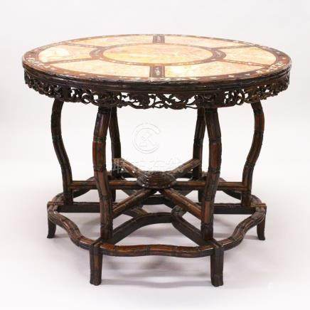 A 19TH CENTURY HONGMU AND MOTHER-OF-PEARL INLAID CENTRE TABLE, QING DYNASTY, the circular top with