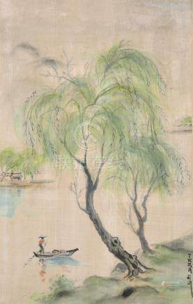 Tran An (19th - 20th Century) Chinese. A River Landscape, with a Figure in a Boat, Watercolour on