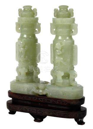 Chinese Jade Double Vase, Chilong