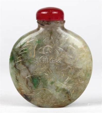 Chinese Jadeite Snuff Bottle, Flowers