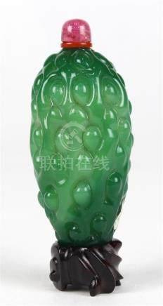 Chinese Glass Snuff Bottle, Bitter Melon