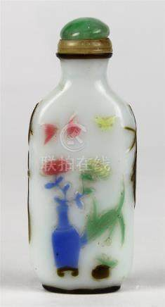 Chinese Overlay Glass Snuff Bottle, Vases of Flowers