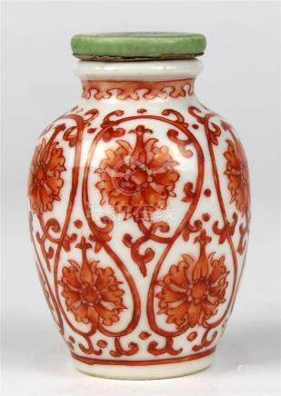 Chinese Porcelain Snuff Bottle, Lotus Scroll