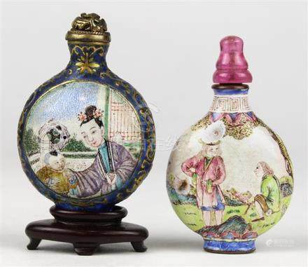 Two Chinese Enameled Copper Snuff Bottles