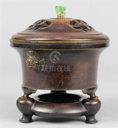 Chinese Tripod Bronze Censer, Lion Handles