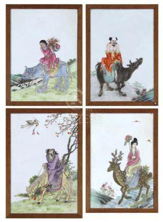 Chinese Enameled Porcelain Plaques, Daoist Immortals