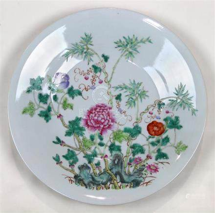Chinese Enamel Porcelain Charger, Peonies