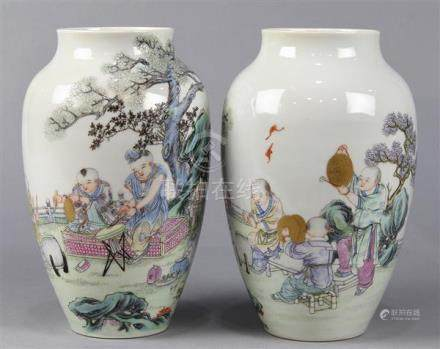 Chinese Porcelain Vases, Children, Hongxian Mark