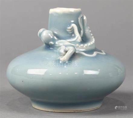 Chinese Clair de Lune Small Porcelain Vase, Chilong