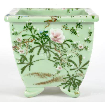 A CHINESE FAMILLE ROSE CELADON GLAZED SQUARE JARDINIERE, 25CM H, 20TH C