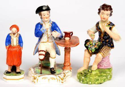 THREE SAMPSON HANCOCK FIGURES, INCLUDING A MINIATURE FIGURE OF A TURK, 9.5CM H, RED OR PUCE