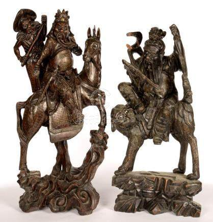 A PAIR OF CARVED HARDWOOD CHINESE FIGURES OF IMMORTALS, EARLY 20TH C, 65CM H
