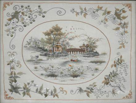 A CHINESE SILK PICTURE, EARLY 20TH C, 46 X 35CM